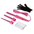 Professional Hair Curler Roller 3 in 1 Functions Cylindrical 3 Curling Irons Set Rechargeable Perm Hair Curling Instrument Pink US Plug
